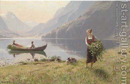 Harvesters by the banks of a fjord by Hans Dahl - Reproduction Oil Painting