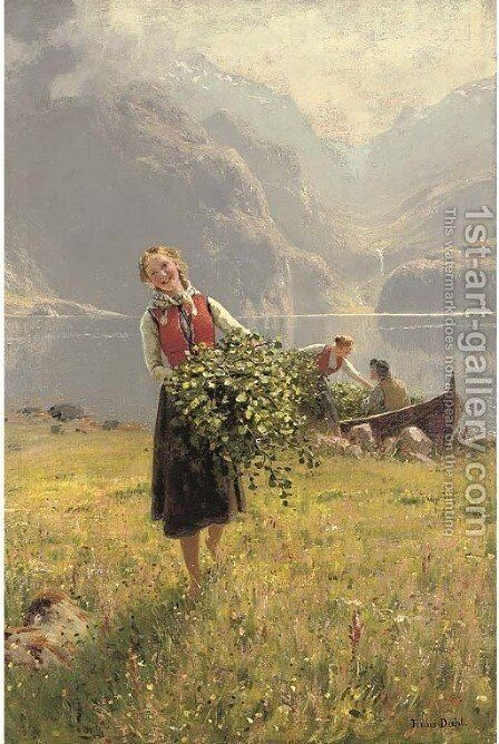 Sommerdagved en Norsk fjord (A summerday by a Norweigan fjord) by Hans Dahl - Reproduction Oil Painting