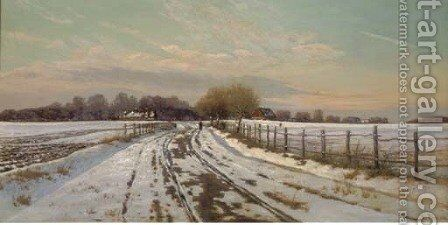A figure in a winter landscape by Hans Gabriel Friis - Reproduction Oil Painting