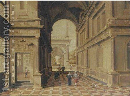 A fantastical palace with elegant figures in a portico by Hans Juriaensz. Van Baden - Reproduction Oil Painting