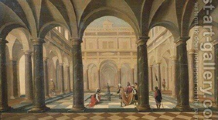 David handing Uria the letter in a classical courtyard by Hans Juriaensz. Van Baden - Reproduction Oil Painting