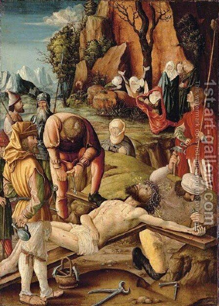 Christ nailed to the Cross by Hans the Younger Leu - Reproduction Oil Painting