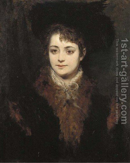 Portrait of a lady in a black hat and a fur trimmed coat by Hans Makart - Reproduction Oil Painting