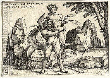 Hercules killing Anthaeus by Hans Sebald Beham - Reproduction Oil Painting