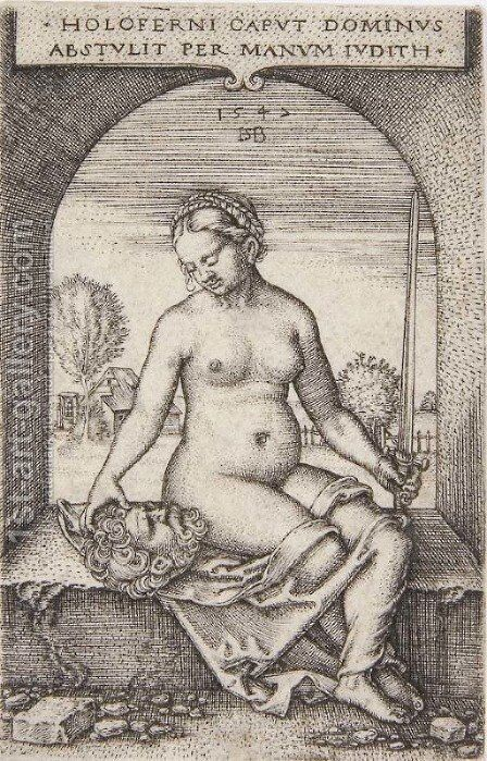 Judith seated in an Arch by Hans Sebald Beham - Reproduction Oil Painting