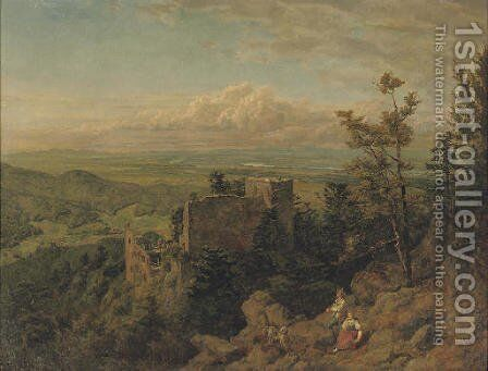 Die burgruine Hohenbaden looking out over the Rhein valley, Baden Baden by Hans Thoma - Reproduction Oil Painting