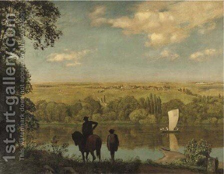 Mainlandschaft Rhenish landscape with a horseman by Hans Thoma - Reproduction Oil Painting