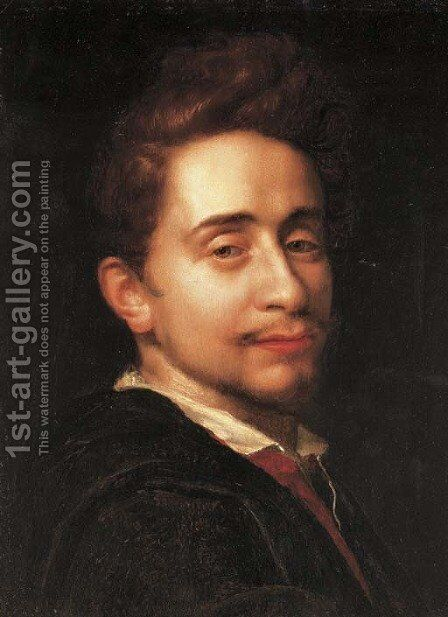Portrait of a young man, bust-length, in a dark coat by Hans Von Aachen - Reproduction Oil Painting