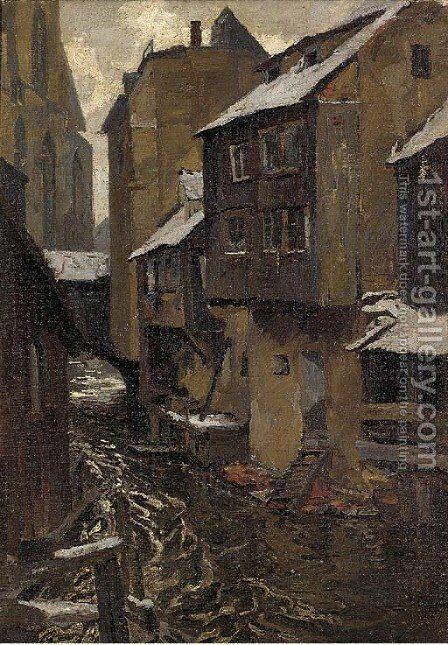 A river running through a continental town by Hans von Hayek - Reproduction Oil Painting