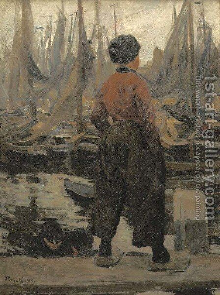 A Volendam fisherman looking over the harbour by Hans von Hayek - Reproduction Oil Painting