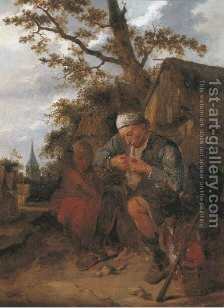 Peasants seated outside a farmhouse by Harmen Fransz. Hals - Reproduction Oil Painting