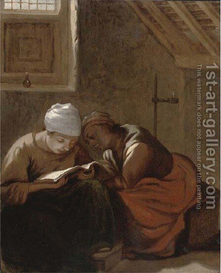 Two women reading in an interior by Harmen Fransz. Hals - Reproduction Oil Painting