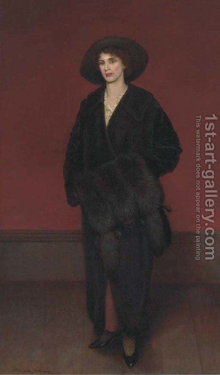 Portrait of a lady, full-length, in a black coat and fur muff by Harrington Bird - Reproduction Oil Painting
