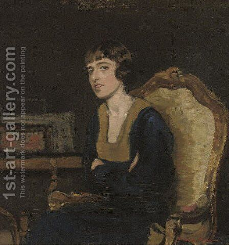 Portrait of the artist's sister, seated half-length, in a black dress by Harrington Mann - Reproduction Oil Painting