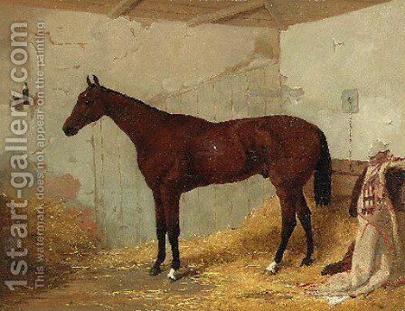A Bay Racehorse in a Stable 2 by Harry Hall - Reproduction Oil Painting