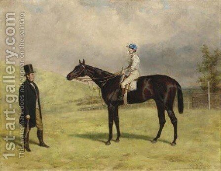 Bacchus, with jockey up, and his trainer Captain James Machell by Harry Hall - Reproduction Oil Painting
