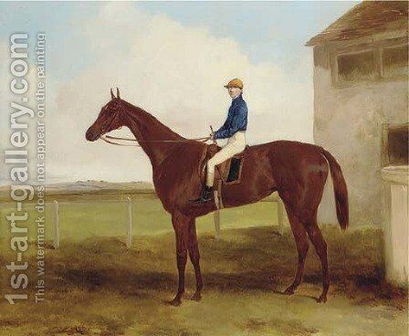 Dacia, winner of the Cambridgeshire, 1848, with George Brown up by Harry Hall - Reproduction Oil Painting