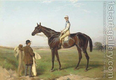 Fisherman with jockey up attended by a groom on a race course by Harry Hall - Reproduction Oil Painting