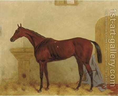 Gladiateur a Bay racehorse in a stable by Harry Hall - Reproduction Oil Painting