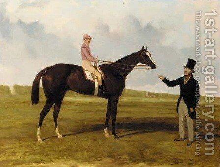 Mr. John O'Neill and Caurouch with G. Abdale up at Newmarket by Harry Hall - Reproduction Oil Painting