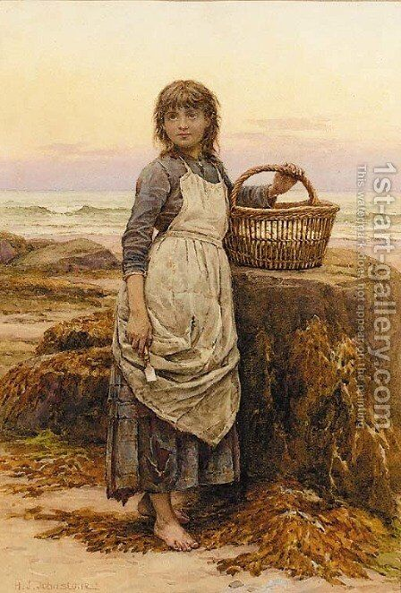 Gathering clams by Henry James Johnstone - Reproduction Oil Painting