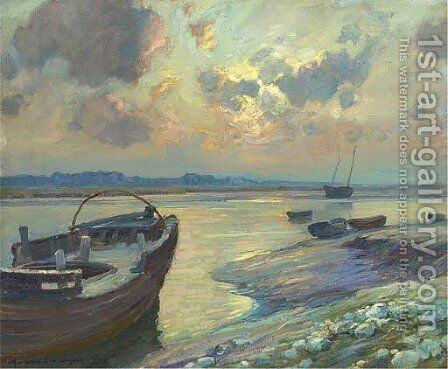 Sunset over the estuary by Harry van der Weyden - Reproduction Oil Painting