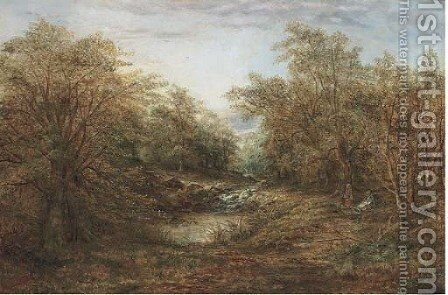 Children by a woodland stream by Harry Wallace - Reproduction Oil Painting