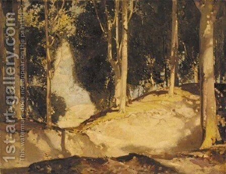 A sunlit woodland glade by Harry Watson - Reproduction Oil Painting
