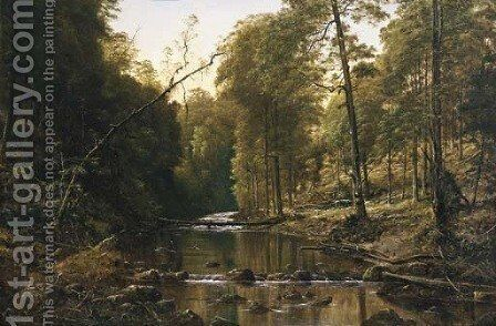 River Scene by H. Forrest - Reproduction Oil Painting