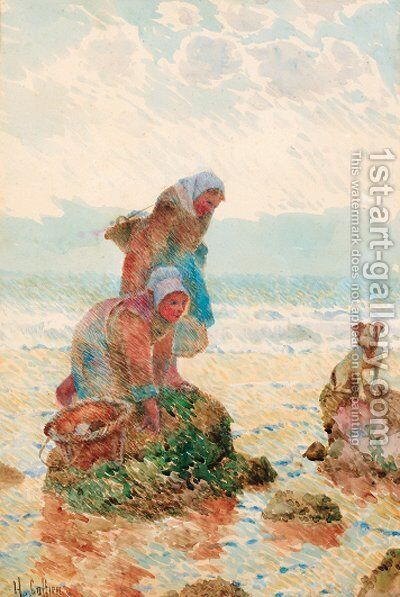 Figures on a beach gathering mussels with a dog by Hector Caffieri - Reproduction Oil Painting
