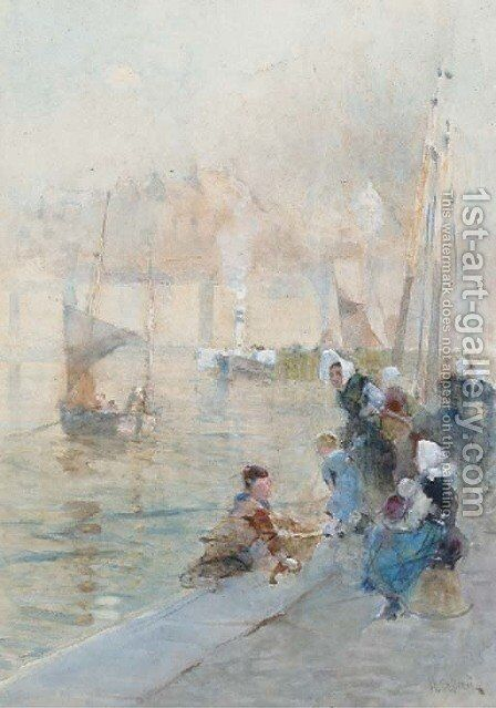 Fisherwomen with their children on the quayside by Hector Caffieri - Reproduction Oil Painting