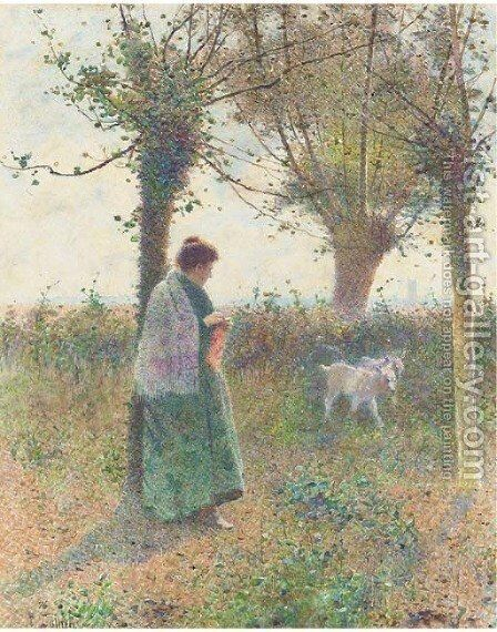 Knitting by the new arrivals by Hector Caffieri - Reproduction Oil Painting