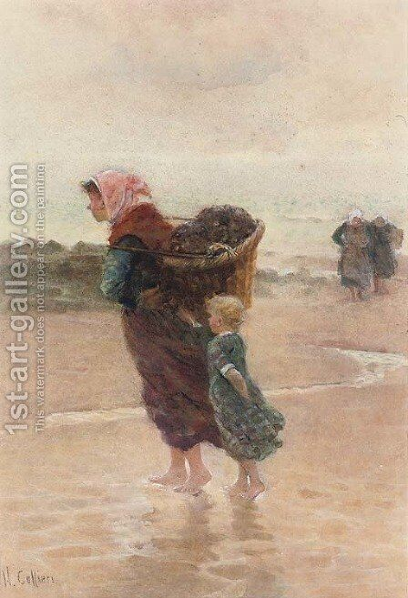 The mussel gatherers by Hector Caffieri - Reproduction Oil Painting