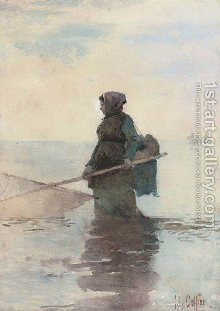 The shrimper by Hector Caffieri - Reproduction Oil Painting