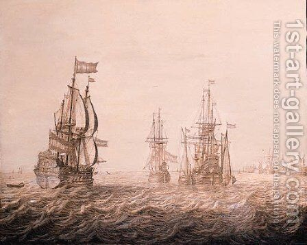 A man-of-war sailing out from a harbour with a fluitschip and a merchantman at anchor nearby in a stiff breeze - a penschilderij by Heerman Witmont - Reproduction Oil Painting