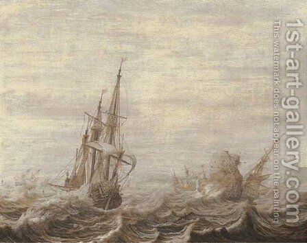 A penschilderij three-masters off a rocky coast in choppy waters by Heerman Witmont - Reproduction Oil Painting