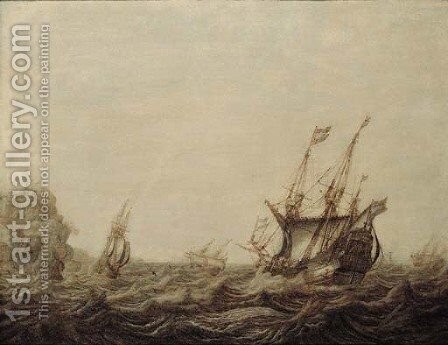 A penschilderij Threemasters off a rocky coast in a stiff breeze by Heerman Witmont - Reproduction Oil Painting