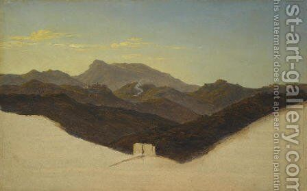 View of San Vito with Monte Guadagnolo in the distance by Heinrich Reinhold - Reproduction Oil Painting