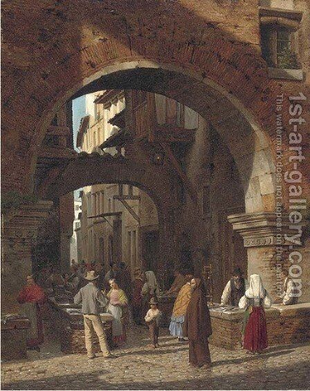 The fish market, Rome by Heinrich Hansen - Reproduction Oil Painting