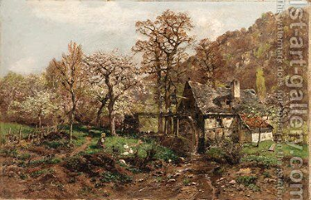 A young girl by a mill among spring blossoms by Heinrich Hartung - Reproduction Oil Painting