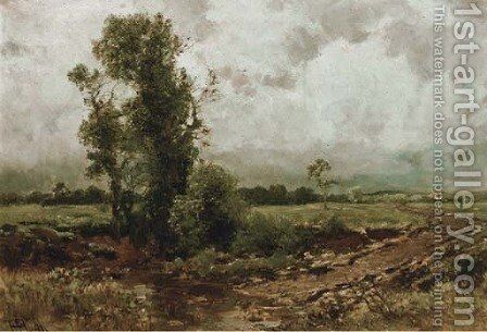 Trees by a ford by Heinrich Sen Hartung - Reproduction Oil Painting