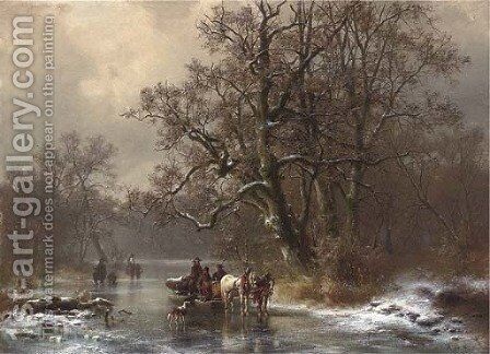 Loggers on a frozen waterway by Heinrich Hofer - Reproduction Oil Painting