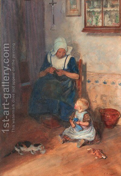An interior scene with a woman knitting by Heinrich Martin Krabb - Reproduction Oil Painting