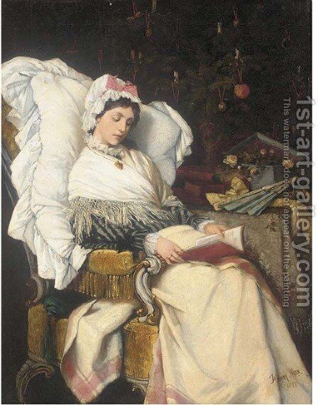 A Christmas read by Heinrich Max - Reproduction Oil Painting