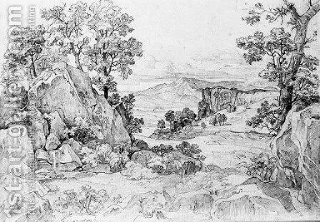 A rocky wooded landscape near Olevano by Heinrich Reinhold - Reproduction Oil Painting