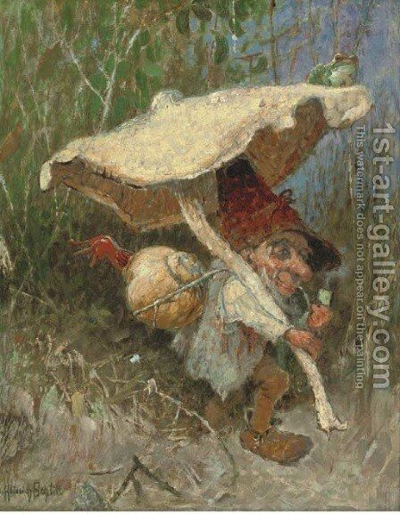 A travelling gnome with his toadstool by Heinrich Schlitt - Reproduction Oil Painting