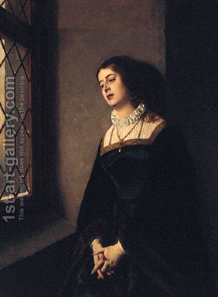 Portrait Of A Lady, Three-Quarter-Length, Wearing Black Robes And Standing Before A Window by Baron Heinrich von Angeli - Reproduction Oil Painting