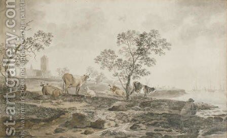 A river landscape with a herdsman resting and cows grazing near the banks, a church beyond by Hendrik Willem Schweickardt - Reproduction Oil Painting