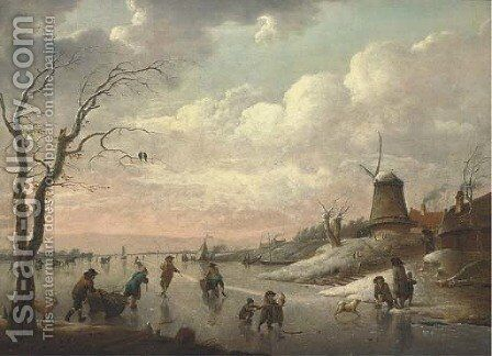 A winter landscape with peasants skating on a frozen river by a village with a windmill by Hendrik Willem Schweickardt - Reproduction Oil Painting