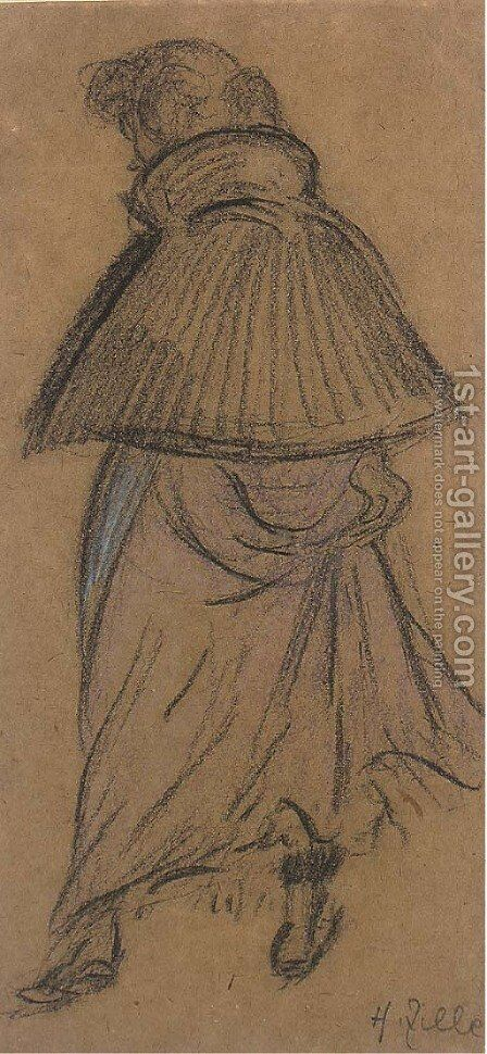 Frau mit Cape by Heinrich Zille - Reproduction Oil Painting